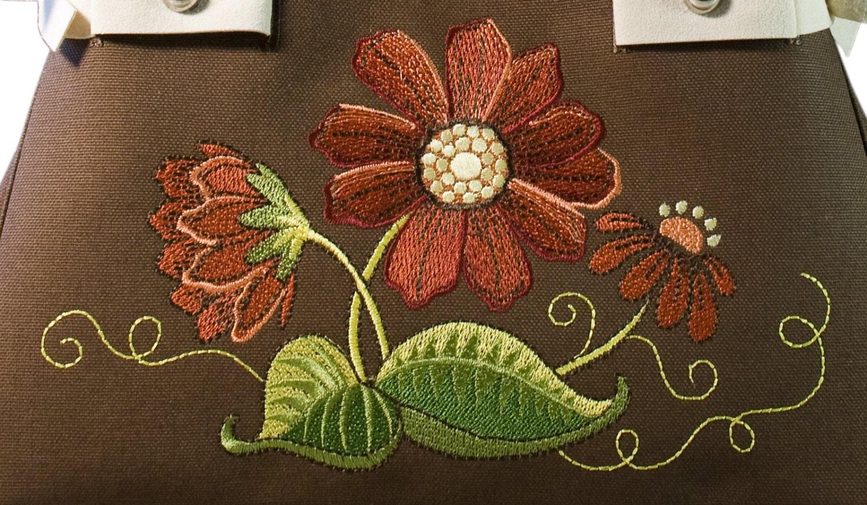 Bohemian flower machine embroidery design for handbags