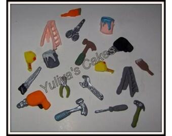 18 Edible tools cake/cupcakes topper,handyman/painter/builder/construction,handmade ,birthday,fondant