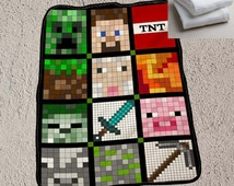 Face character Minecraft  art Blanket Cover