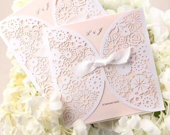 Laser Cut Satin Ribbon Wedding Invitation Classic hollow design