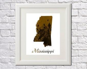 Mississippi State Map Mississippi Print Mississippi Art Mississippi State Outline Mississippi Home Decor Wall Art