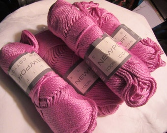 5 Skeins Elite Newport  Pink With Lilac Shade Cotton Knitting Yarn