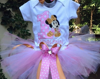 Pink and Gold Baby Minnie Mouse 1st Birthday Outfit Onesie Tutu FREE Hair Bow Personalized
