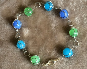 Turquoise and Sea Green Beaded Bracelet