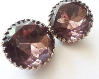 Purple Rhinestone Earrings, Vintage Clip ons