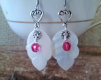 White leaf shell, raspberry Swarovski rounds, pewter brass heart ear rings