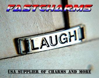 LAUGH Tag CHARM connector, tibetan silver, laugh silver, silver connector, jewelry findings, laugh connector, rectangle (YB53E/CB102)