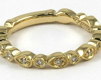 Stacking Diamond Ring 14k Yellow Gold with 0.19ct Diamonds