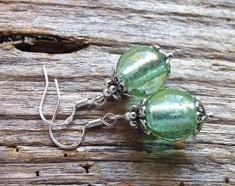 Mint Green Silver Foil Glass Bead Earrings