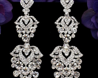 Rhodium Plated Clear Crystal Rhinestone Flowers Bridal Drop Chandelier Earrings