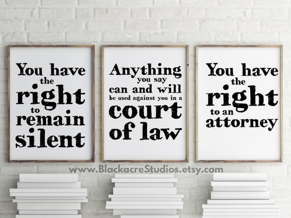 Oh Law Firm >> Miranda Warning Print Set Gift Pack Lawyer Gifts Office