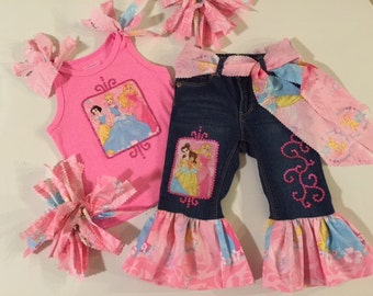 Pink Disney Princess 5pc. Outift Set Custom Girls All Sizes 12mo - 5t Cinderella Snow White Aurora Princesses Vacation Walt Disney World