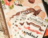 Watercolor Weekend Planner Stickers that fit Erin Condren Life Planners, Plum Planners, Filofax and more