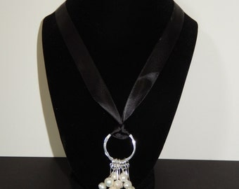 Freshwater Pearl Cluster with Ribbon