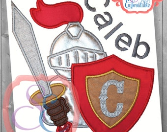 Knight in Shining Armor Applique Design For Machine Embroidery INSTANT DOWNLOAD