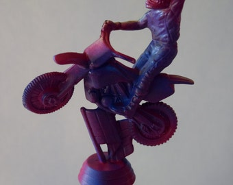 Pink & Blue (and a touch of green) Motocross Trophy Wine Stopper