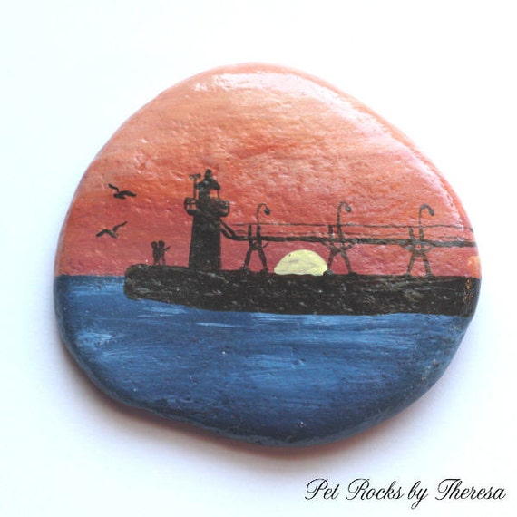 Lighthouse Natural Stone : South haven michigan lighthouse at sunset by petrocksbytheresa