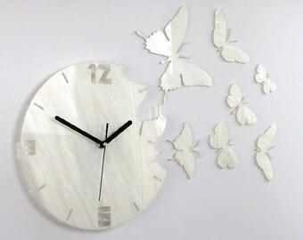 Wall Clock BUTTERFLY NACRE Modern clock modern wall clock Unique wall clocks gift