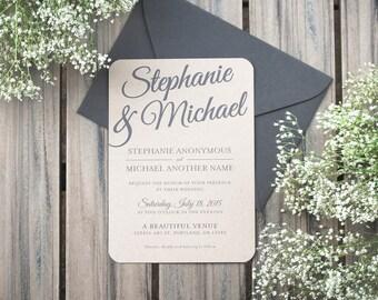Rustic Paper Bag and Gray Elegant Modern Wedding Invitation Printable or Printed