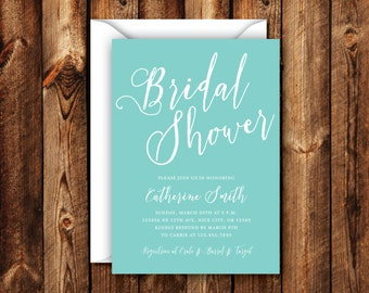 Turquoise Bridal Shower Invitation Elegant Modern Wedding Shower Invitation 5x7 Digital File or Printed Invites