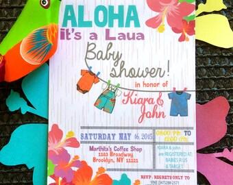 Aloha Hawaiian Baby Shower Invitation, Printable, Digital, Double Sided