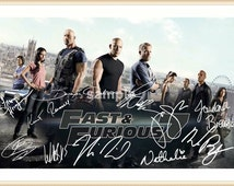 Fast and Furious cast, signed autographed A4 print on black card mount, black frame, or gold frame
