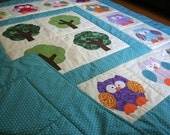 Appliqué Owl Quilt / Unique Baby Gift / Baby Shower Gift / Baby Quilt / Toddler Quilt / Owl Theme