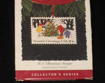 "Hallmark Keepsake Ornament U.S. CHRISTMAS STAMP ""Seasons Greetings"" Second in the Collector's Series! 1994 QX5206"