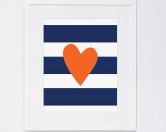 Heart Stripe Nursery Wall Art, navy & orange, digital art INSTANT DOWNLOAD