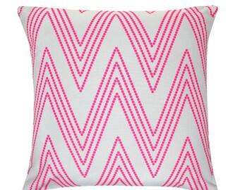 SPARKS Grey & pink Chevron Zig Zag Stripe Cushion Pillow Cover 45cm x 45cm