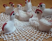 Crocheted chickens, Crochet Easter decoration, Crochet Hen / chicken- table decoration, Unique gift, Vintage crochet hens