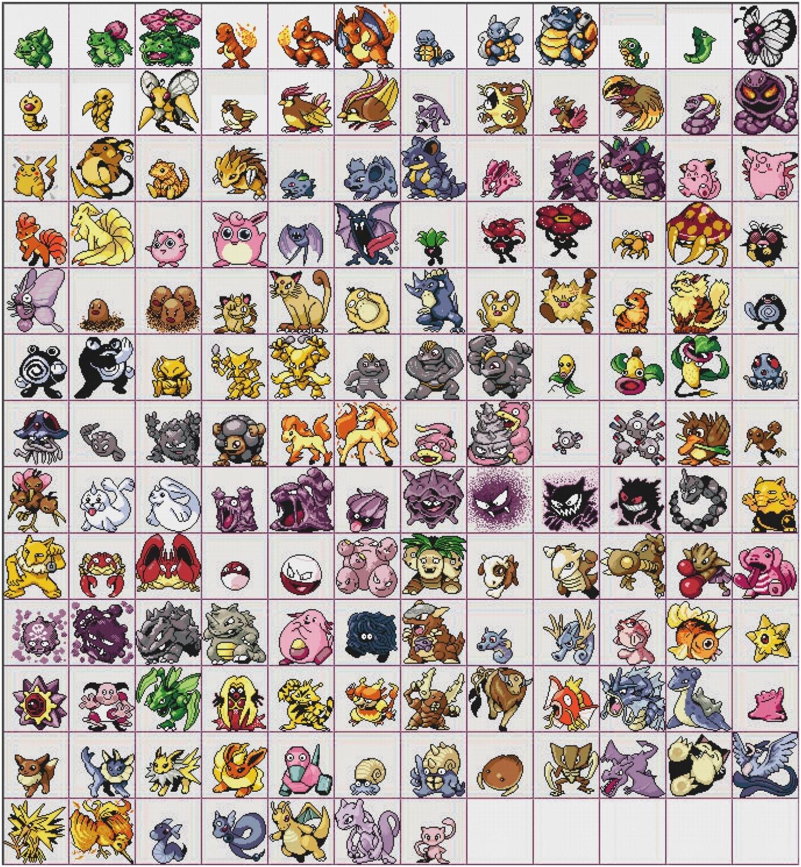 All 151 Kanto Pokemon Cross Stitch Pattern From Stichalope