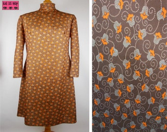 Vintage 70s Shift Dress Brown with Orange stylized Retro Flower Print Mandarin Collar - 14/16