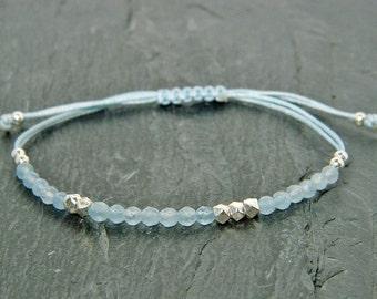 Aquamarine bracelet. Gemstone bracelet. Sterling silver bracelet.Tiny silver bead bracelet.Friendship bracelet.Tiny silver beads.GE001
