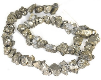 Palazzo Rough Edge Pyrite Gemstone Rugged Nugget Pebble 12MM Loose Beads 16 inch Full Strand BULK LOT 1,2,6,12 and 20 (90119812-115)