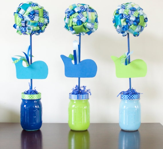 birthday baby shower party decorations green blue whale party