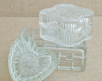 SALE: Vintage Glass Boxes -Set of Three - Perfect for Jewelry