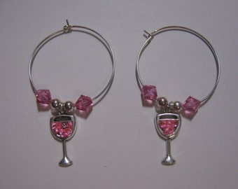Pink Wine Glass Charms