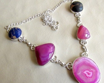 Pink Agate Necklace, Multi Color Jasper Statement Necklace, Gemstone Necklace, Bib Necklace, Silver Necklace, Stone Necklace