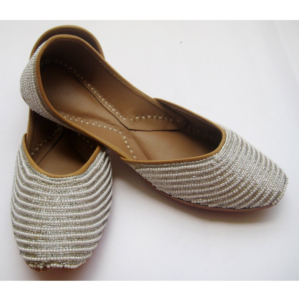 Silver Flats For Wedding: US Size 10/Pearl Shoes/Silver Flats/Bridal By EnharaJewels