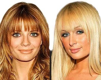 Clip on Fringe Bangs in THIN - 100% human hair free colour match service. Undetectable and real looking - face framing layers.