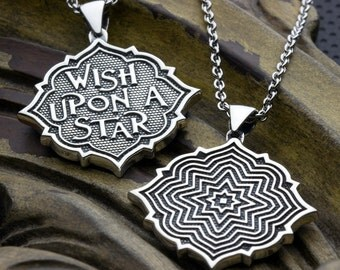 Wish Upon A Star Two Sided Reversible Sterling Silver Necklace Pendant