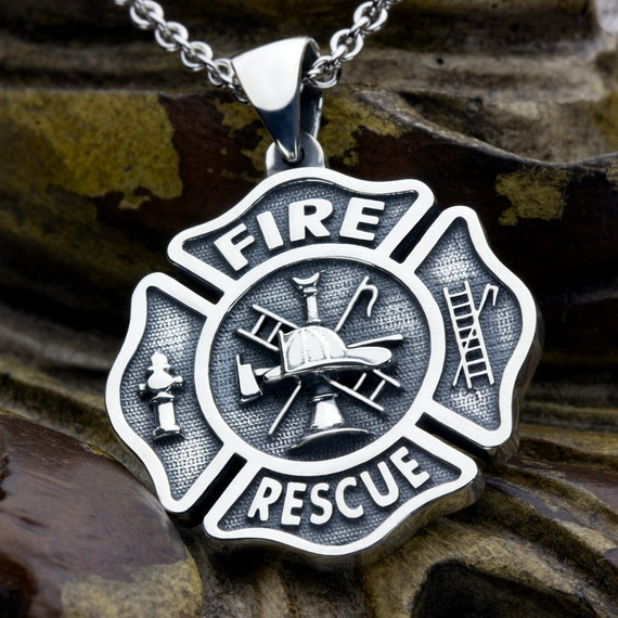Fire Department Maltese Cross Necklace: Large Maltese Cross Firefighter Fire And Rescue Sterling