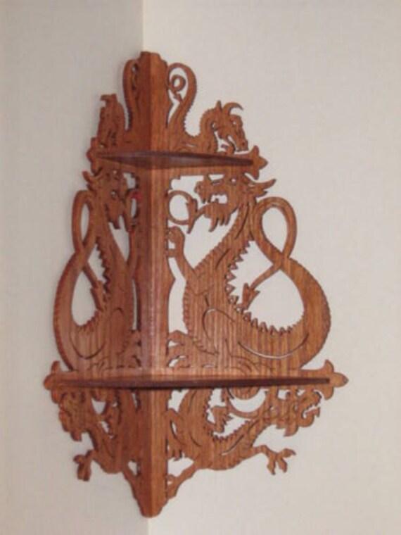 Handmade Dragon Corner Shelf Wooden Victorian Wall Shelves
