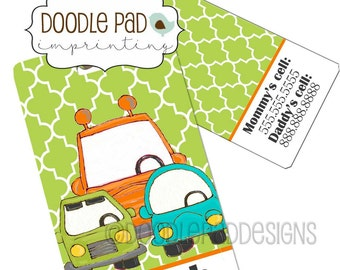 Cars Diaper Bag Tag,  Personalized Luggage Tag