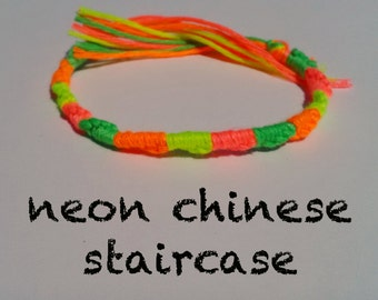 NEON Friendship bracelet - SUMMER Chinese Staircase String Bracelet made with colorful embroidery floss, Fluorescent