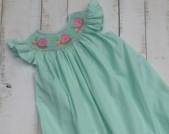 Smocked Snail Bishop dress, Smocked Girls Dress, Smocked Dress