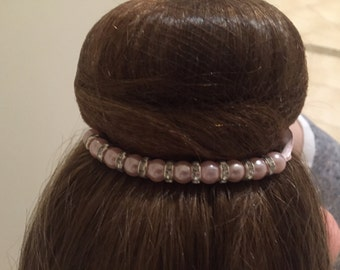 Bun wrap with pearls and crystals on satin ribbon