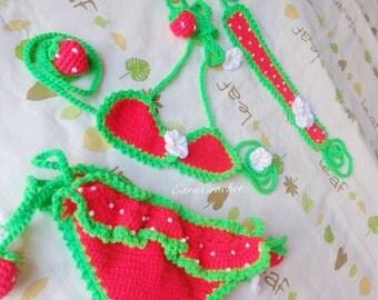 Strawberry beach set,Crochet baby bikini and headband,swimsuit,baby bikini,toddler bikini,baby swimsuit,summer baby,swimwear baby