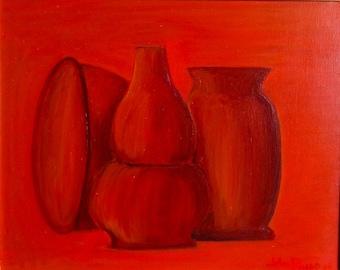 "Naturmort #4, Marone Vasses, 16"" x 18"", Original Fine Art Oil Painting"